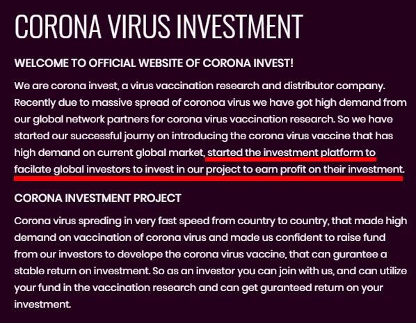 Corona virus investment