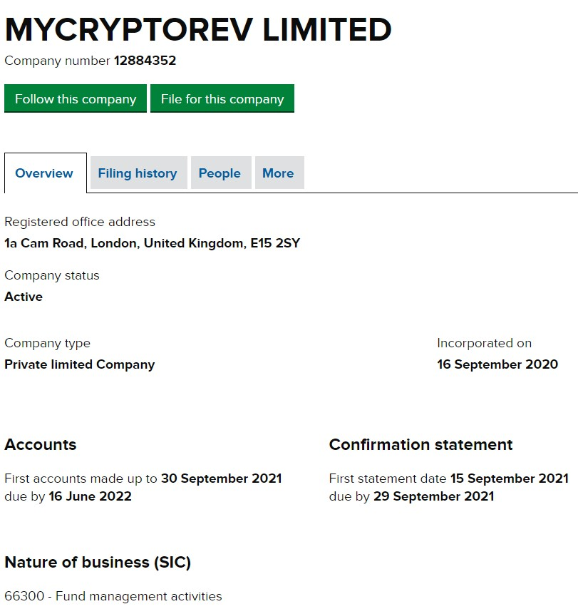 MyCryptoRev Limited