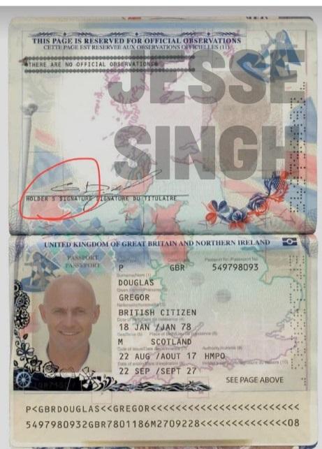 Gregor Douglas passport