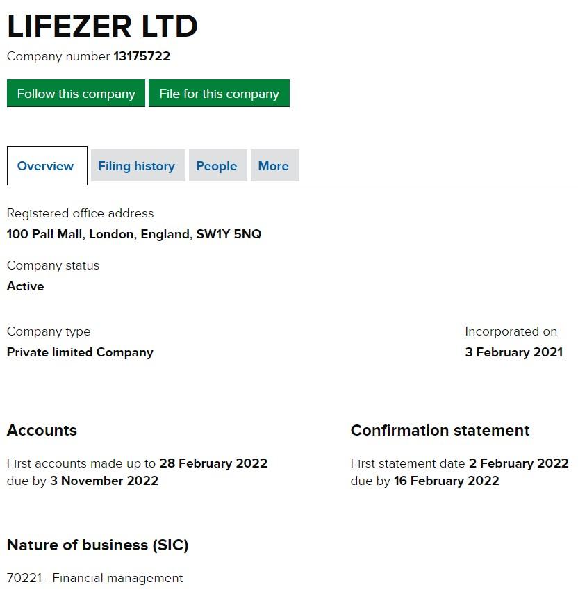Lifezer UK Incorporation