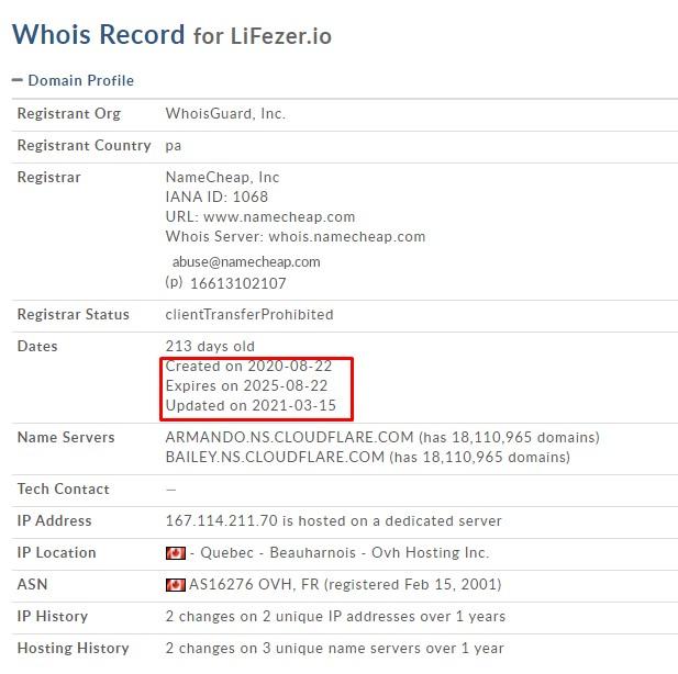 Lifezer domain information