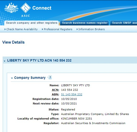 ASIC registration Liberty Sky PTY LTD