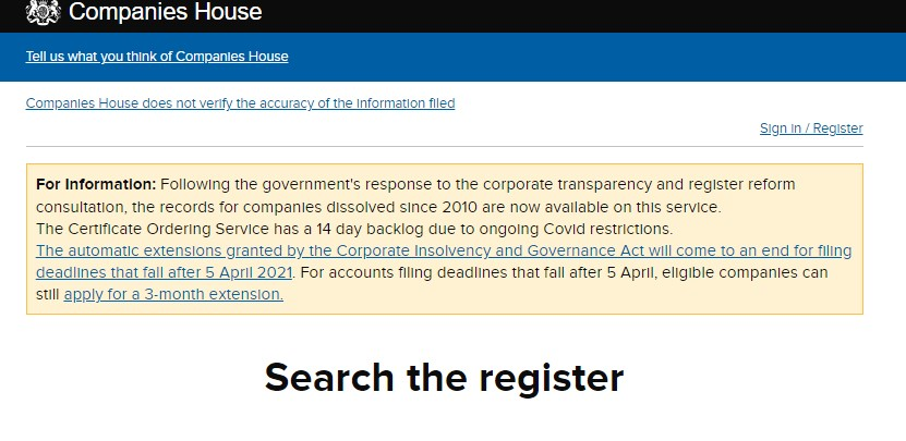 Companies house search page image