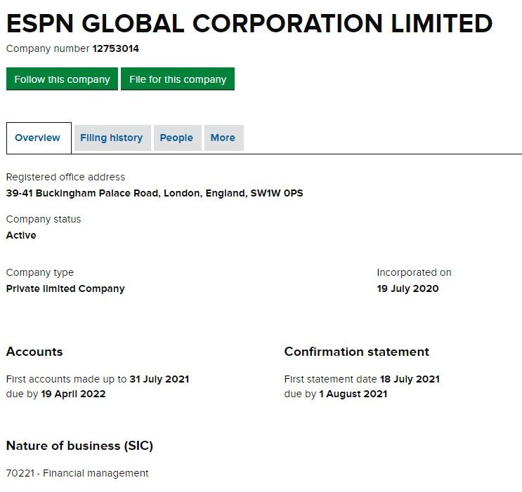 ESPN Global corporation limited