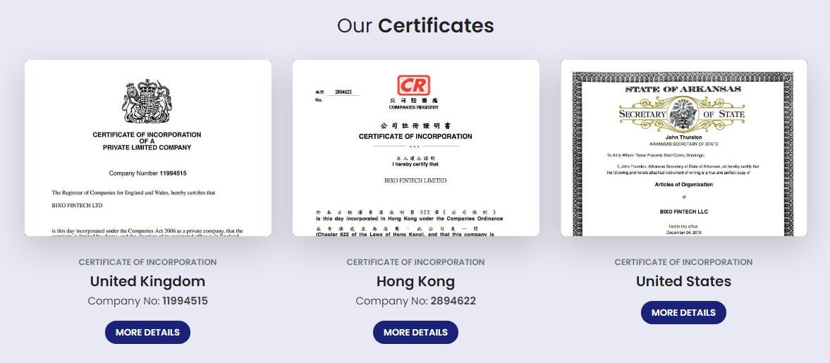 Bixotrade review bixotrade websites incorporation certificates