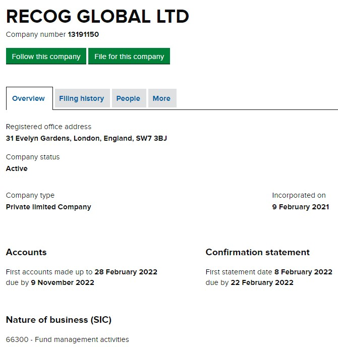 Recog Global LTD