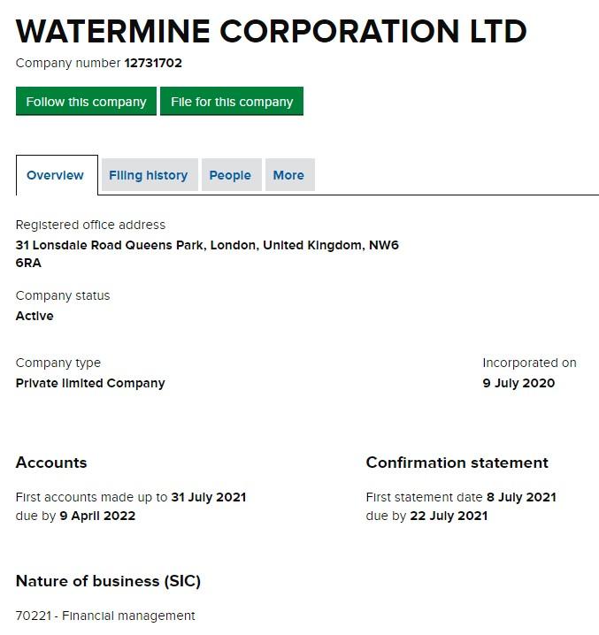 Watermine Corporation LTD